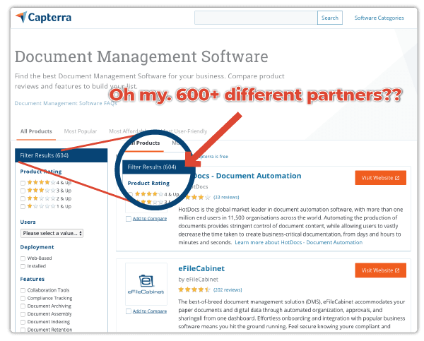 list of over six hundred document management providers and partners is overwhelming to sort through