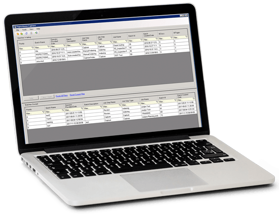 document capture software showing the batch entry dashboard by Imagetek
