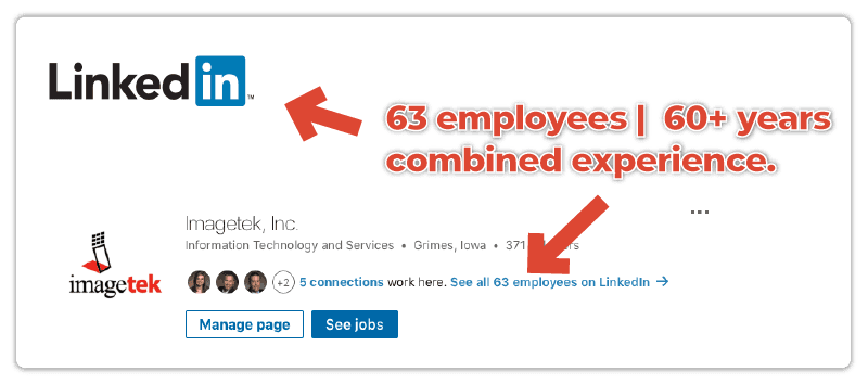 document management provider Imagetek showing over sixty three employees and over sixty hears of experience on LinkedIn